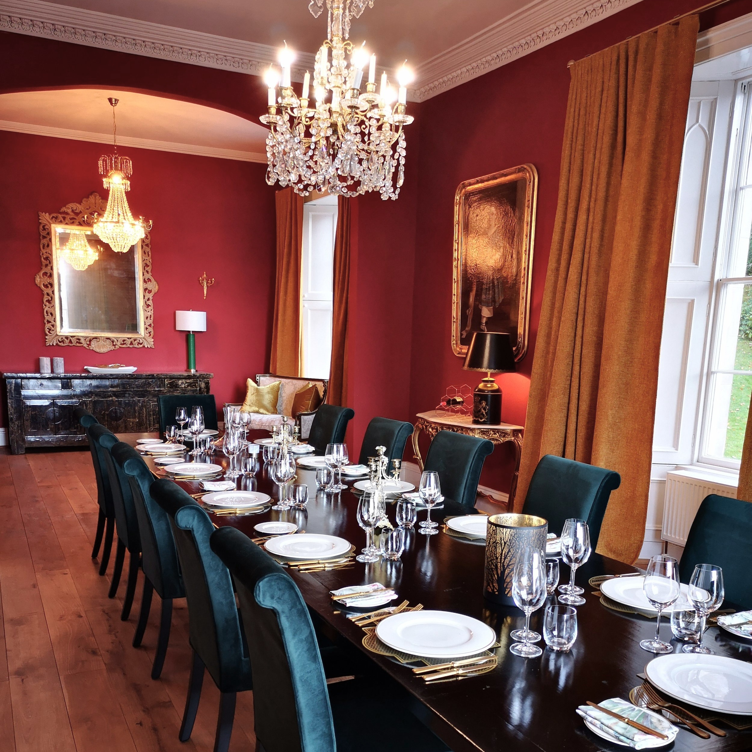 Dining Room - The grand dining room seats up to 30 guests against dramatic decor that harks back to the glory days of Balnakeilly House. Enjoy the finest food in a superb setting warmed by the open fire.