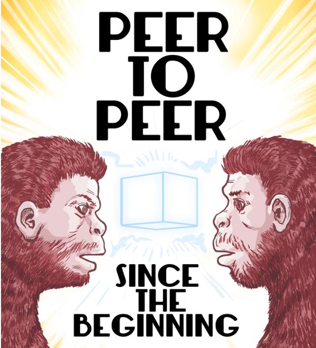 """Der Brasilianische ComicArt Zeichner  Rock Barcellos erklärt das Thema """"Peer To Peer""""  welches ein Schlüsselbegriff der Dezentralisierung ist. Auch als  Video  erhältlich."""