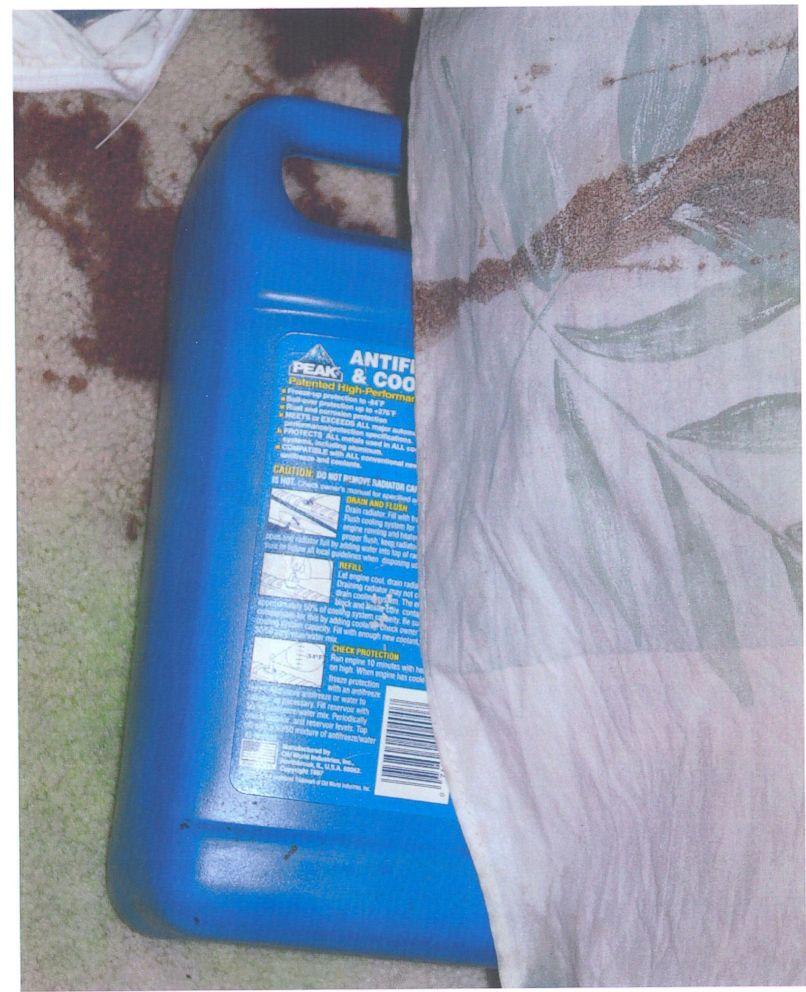 Anti-freeze bottle in crime scene