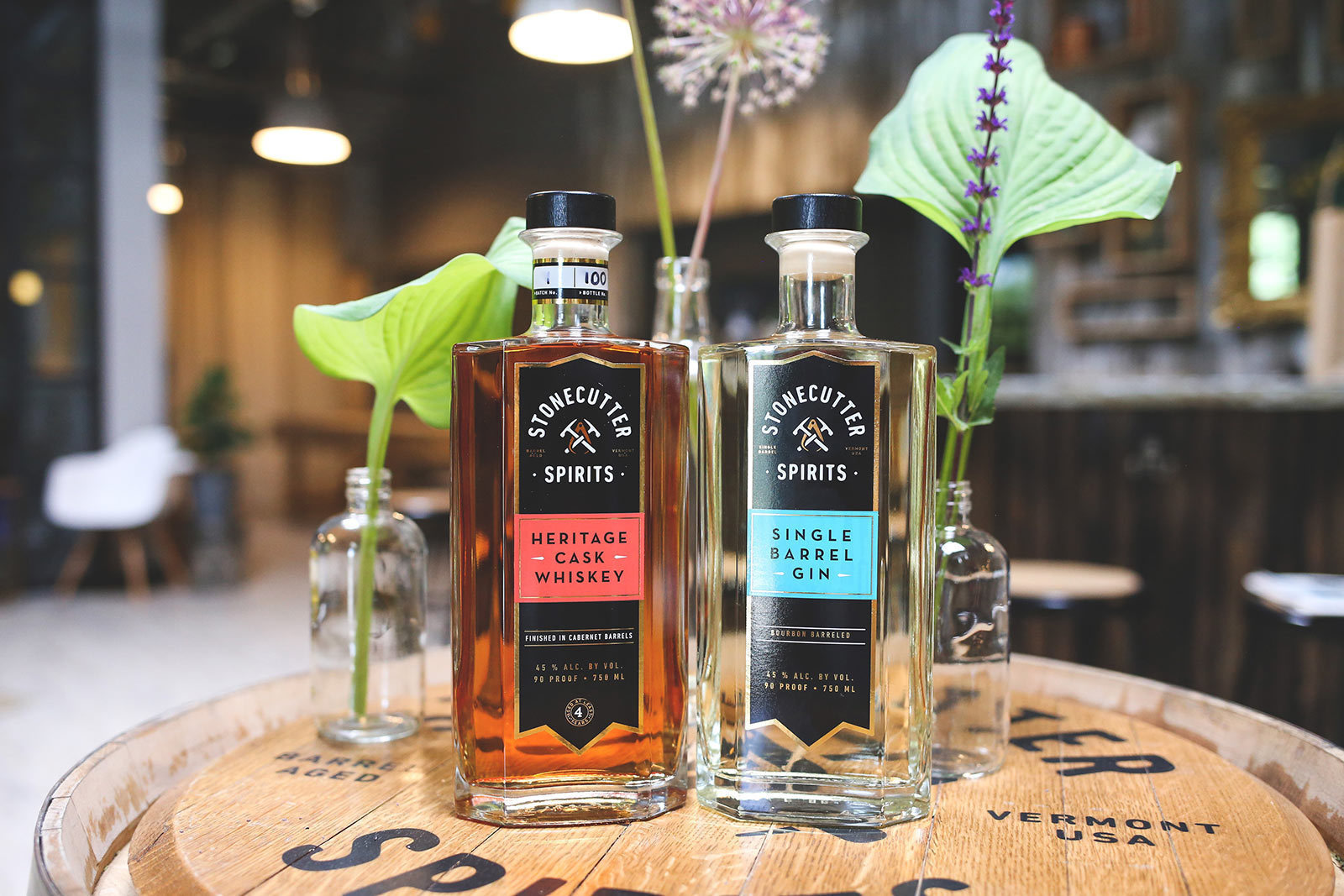 Stonecutter Spirits Whiskey and Gin bottles in Vermont