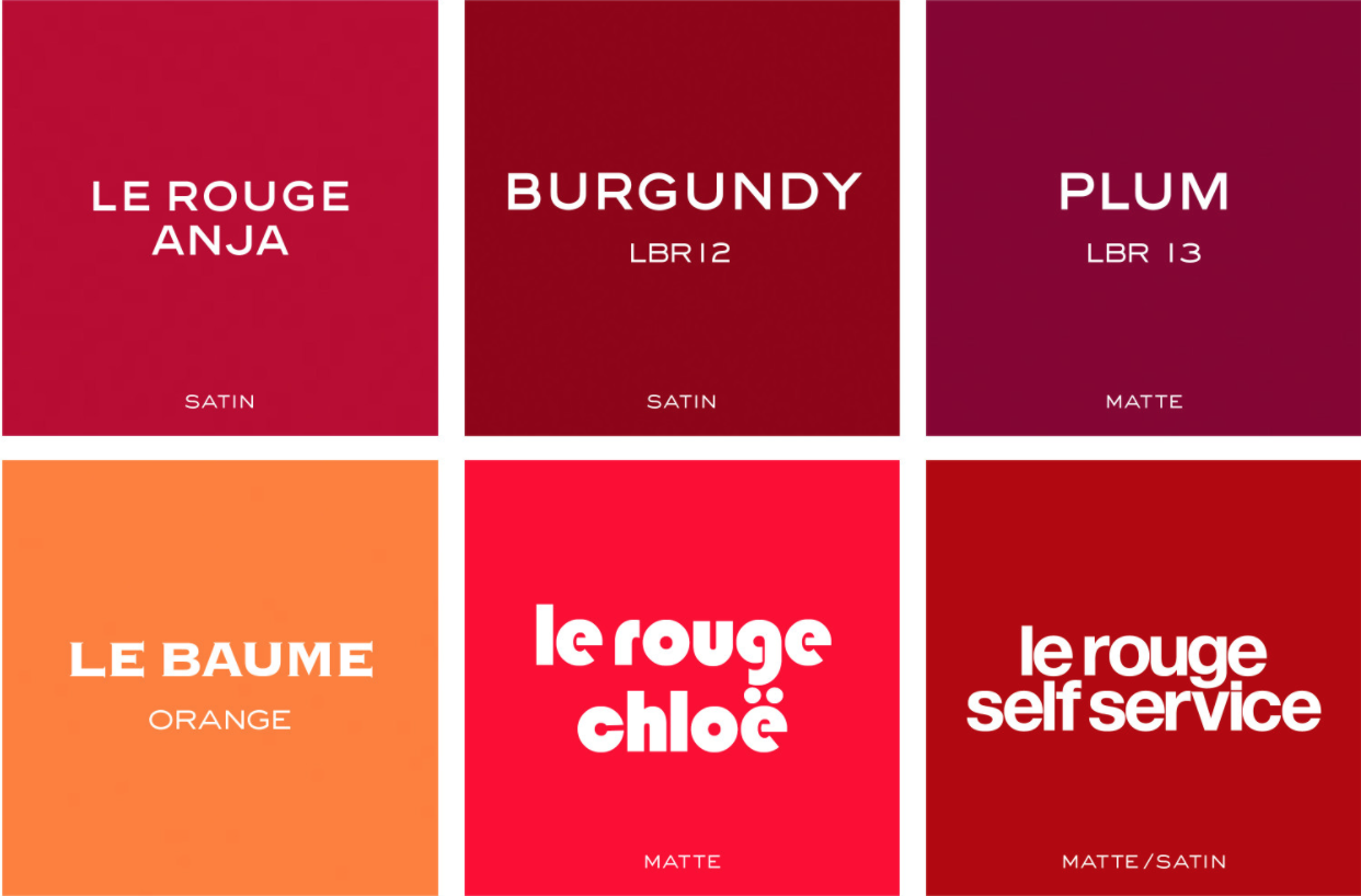 Some of the colour options. Photos: Le Bouche Rouge.