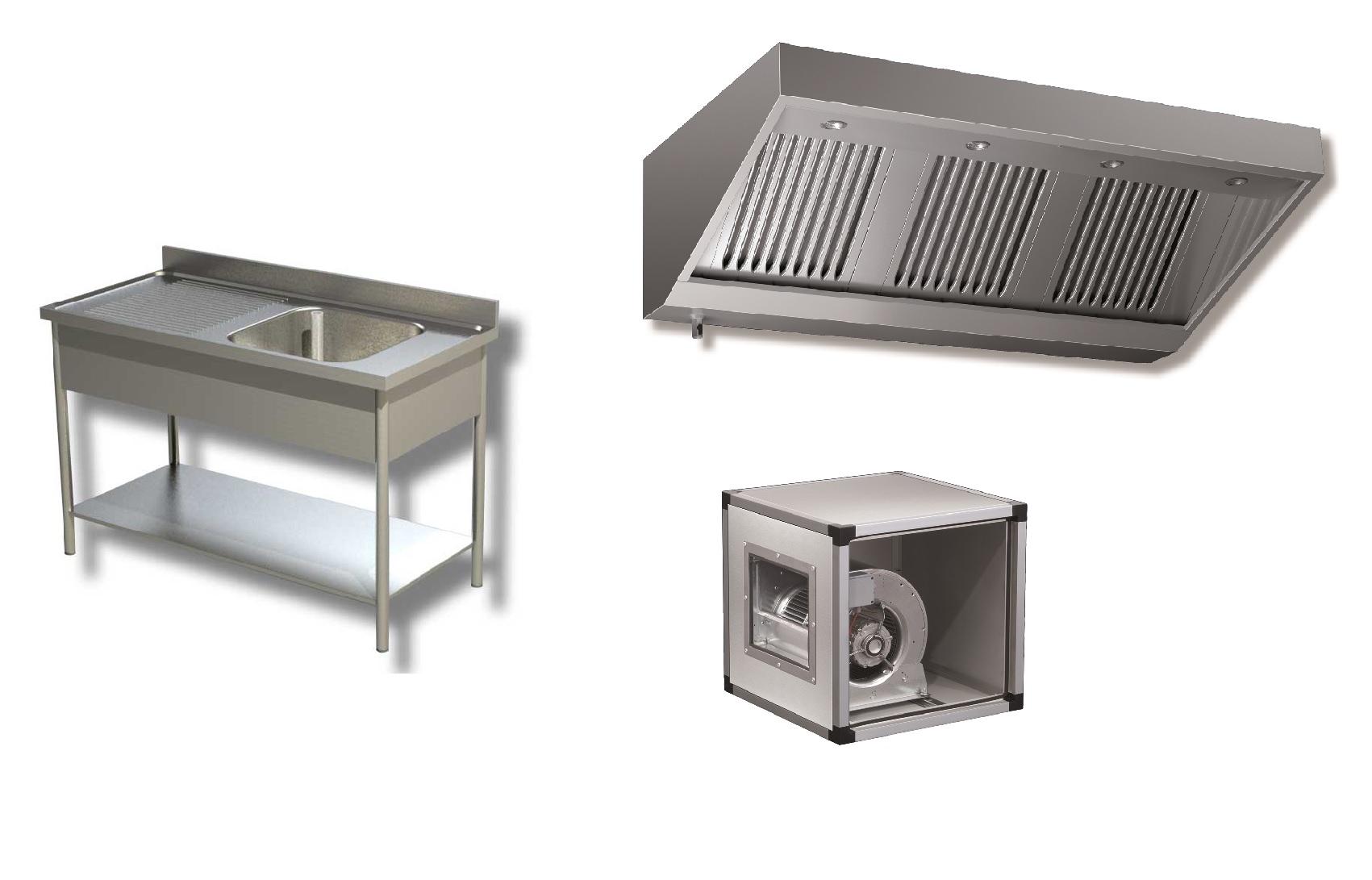 Neutres et VentilationHottes, caissons, tables, plonges etc. -