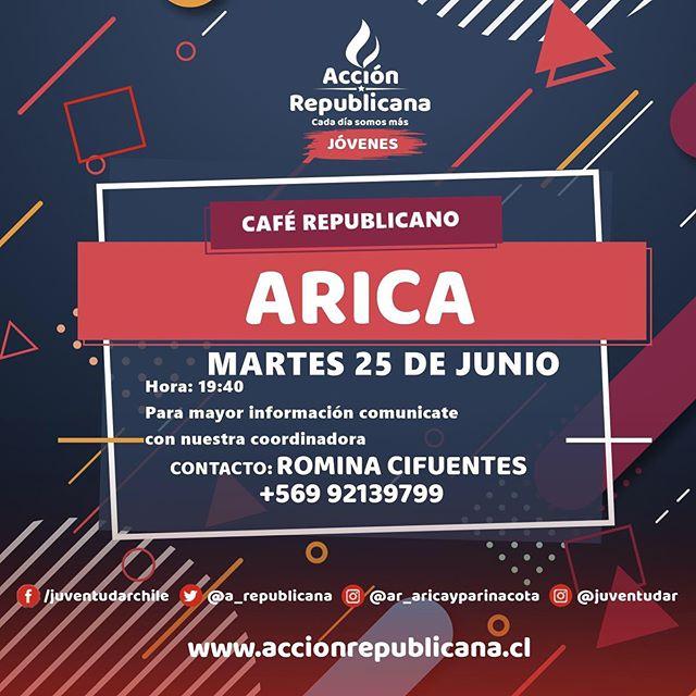 INVITACIÓN CAFÉ REPUBLICANO☕️🇨🇱 A todos los jóvenes de #Arica los invitamos al primer café republicano, la formación es muy importante para defender nuestros principios y valores en los diferentes espacios 💪 Si quieres participar de la juventud, escríbenos a @juventudarxv !!! #CadaDíaSomosMás
