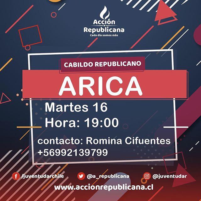 CABILDO REPUBLICANO MAÑANA‼️ En #Arica no se detienen 👏 si quieres participar envía un mensaje a @juventudarxv ✌️🇨🇱 #CadaDíaSomosMás #aricayparinacota