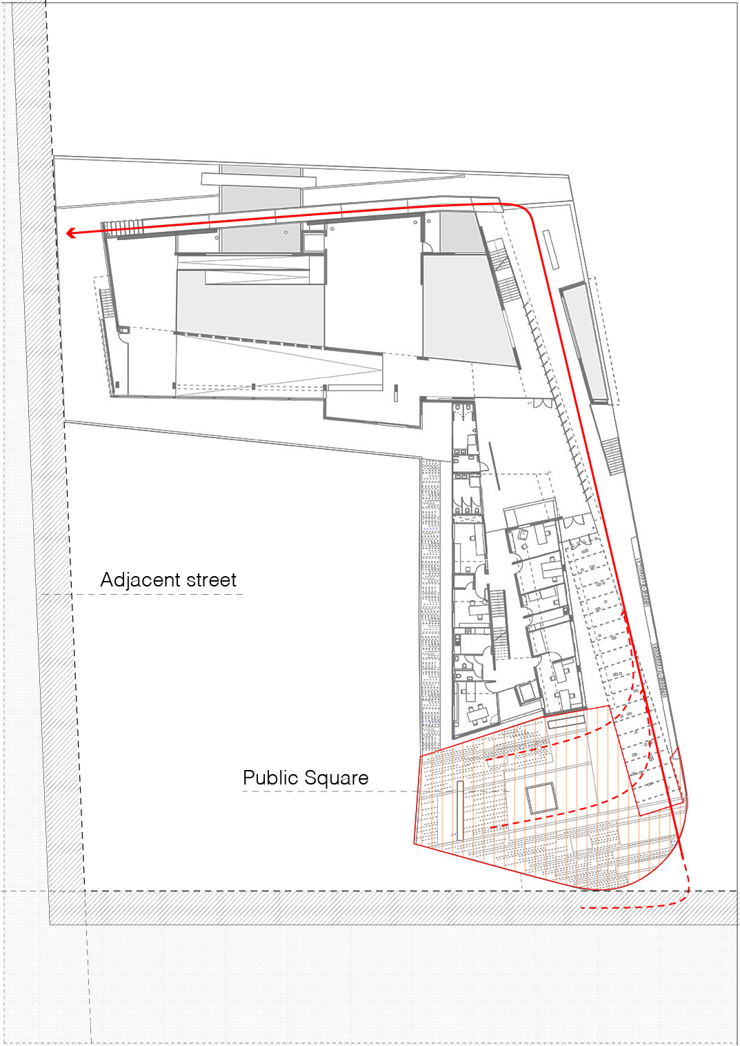Exterior circulation - public flow through the site