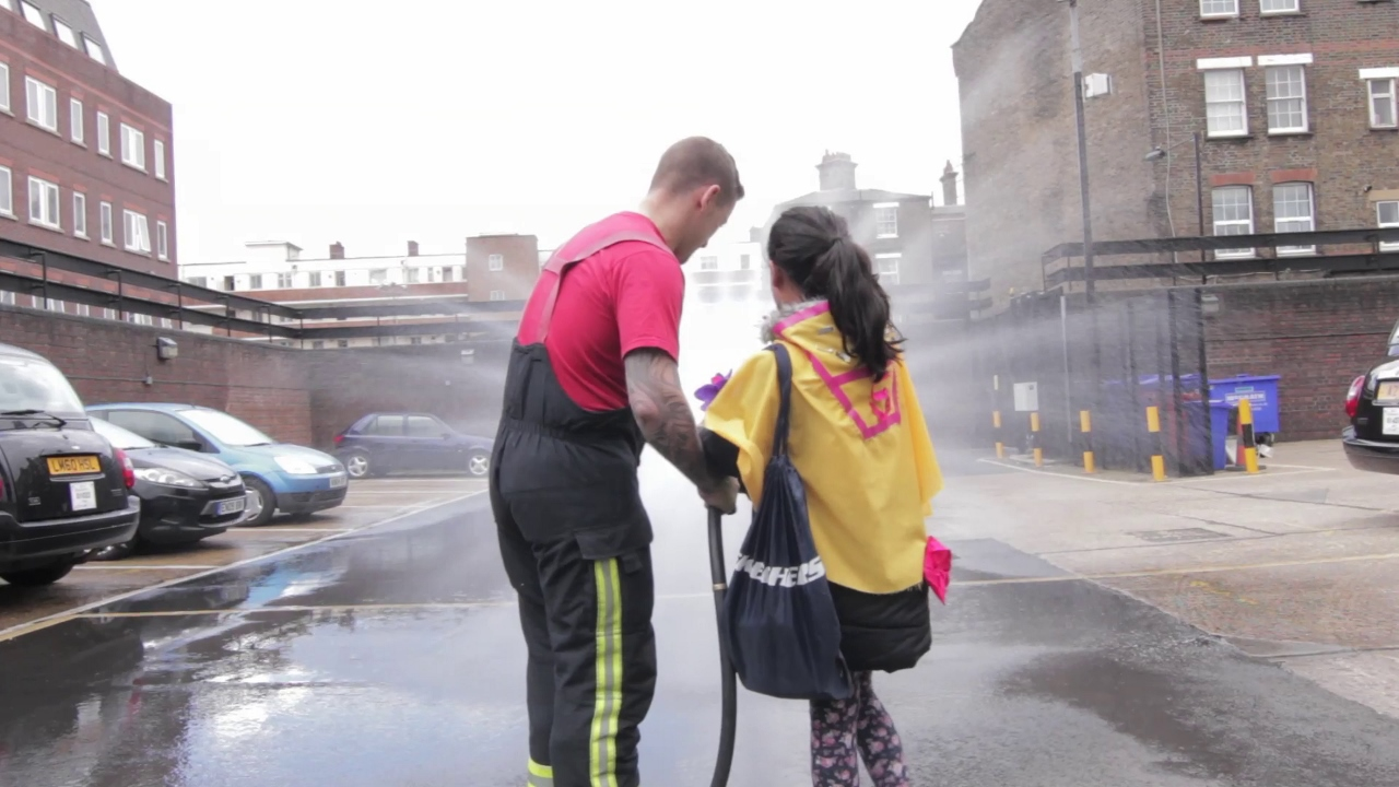 A community superhero in training with the Bethnal Green Fire Brigade