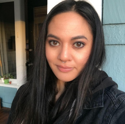 """Rhea Vega - Rhea Vega is an Alaska Native, an enrolled member of the Tlingit tribe, Kaagwaantaan Clan.She is Mexican and Filipino. Her multi-heritage and her ties to the indigenous community in Seattle, WA has strongly influenced her perception of self and thus, her approach to art. Art allows her to maintain her connection to her ancestors; it is a means of healing. She says, """"I consider my artwork to be self therapy. Therapy is aimed to better the self, which is a healing endeavor. I also view myself as a minimal vocalist/communicator, therefore working out emotions and communicating through art is my healing process. My confession to the world lifts the weight of being vulnerable and enclosed; I am empowered."""" Rhea has worked with a variety of media and currently favors acrylic and charcoal. In addition to practicing empowerment through the canvas, Rhea also practices healing through achieving spiritual health for herself and others as a licensed massage therapist. She is a breast cancer survivor and is currently soaking up vitamin D in sunny San Diego, CA.www.omega-vega.com@omega_vega"""