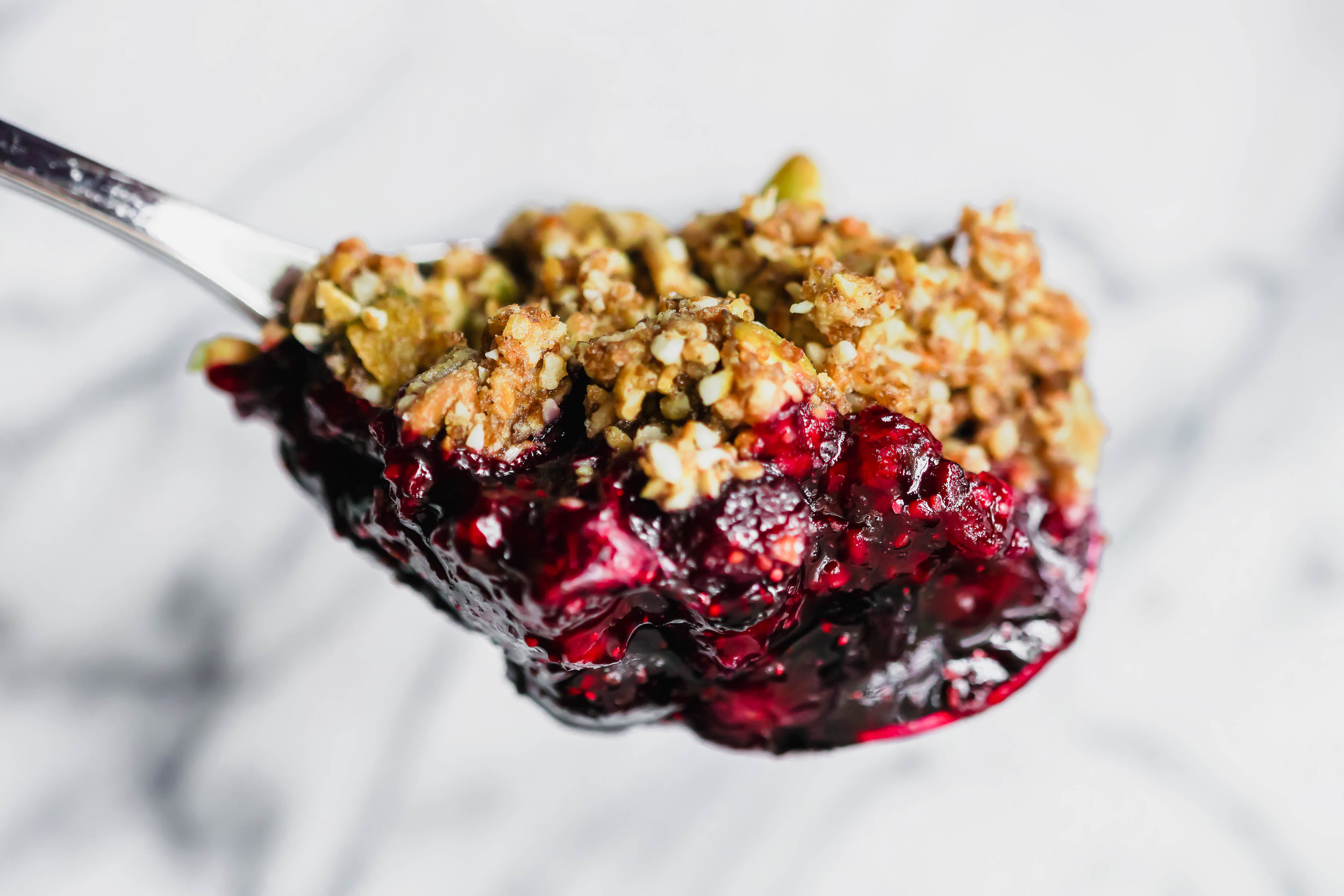 Blueberry Crumble with Buckwheat and Seed Topping (GF)