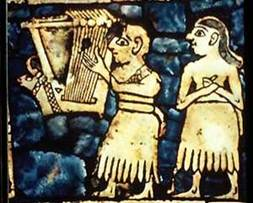 Extract from the  Standard of Ur … Lyre Player and Singer, Ur 4750 BC. (?)  Scene showing The Bull Lyre being played.