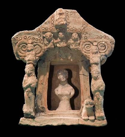 """Asherah the Agricultural Goddess is seen here in her temple. Idol worshipers would 1st make the goddesses and then worship them.Hashem asks """"How can a man create a god? It doesn't make any sense."""""""