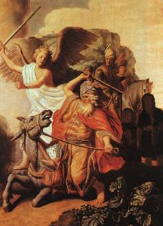 Rembrandt's depiction of Bilaam striking his donkey while on his way to curse the nation of Israel.