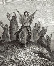 """""""Celia, Yiftach's Daughter, celebrating her fathers return from war"""", by: Gustave Dore"""