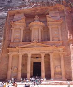 A famous structure carved into the face of a mountain foundin Petra, Jordan which is believed to be part of Edom's land
