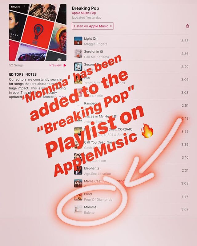 "Thank you @AppleMusic for adding 'Momma' to your ""Breaking Pop"" Playlist!  Come give the song a spin and add it to your library! ✨Link in Bio✨"