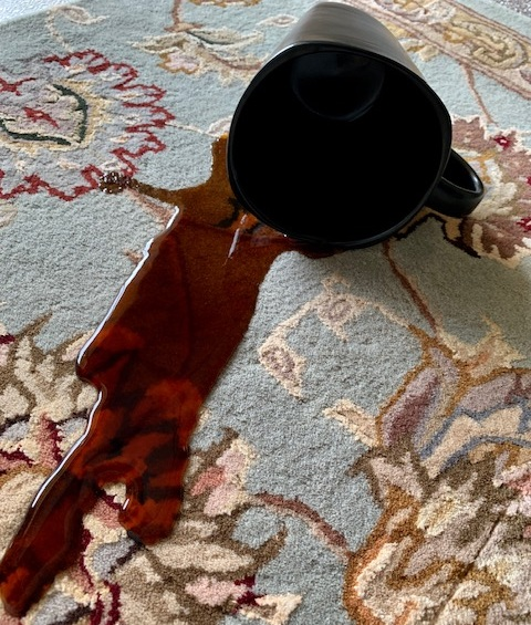 WET SPILLS, SPOT CLEANING AND REMOVAL FOR WOOL, SYNTHETIC AND BLENDED RUGS - Use a clean, dry paper towel to soak up wet spills. Never spread the spill with a wet towel. Remove dry, crusty spills with a spoon, spatula, or dull knife and then vacuum. Be sure to use an approved spot cleaner on your rug. Always test cleaning products on a small inconspicuous area of your rug before using.