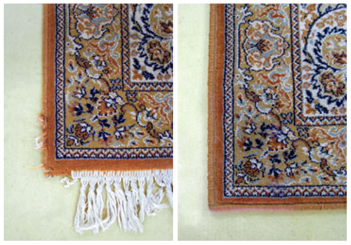 Fringe removal and rug repair. We can also add new fringe if preferred.