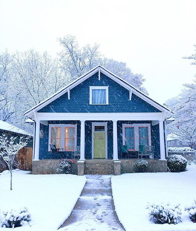 Nothing makes an already beautiful historic home look even classier than a nice little snow covering, and being here in Atlanta, getting to enjoy this is certainly a rarity and a pleasure! As you might remember from our post back in April, this is our house. It was looking a little rough in that before and after picture, but the siding has been repaired, window trim restored, and everything has been painted! We are currently trying to decide the most historically appropriate style of railing to build, but that project might need to wait for a warmer day. Hope everyone is staying warm out there!  Photograph by Derek Anderson
