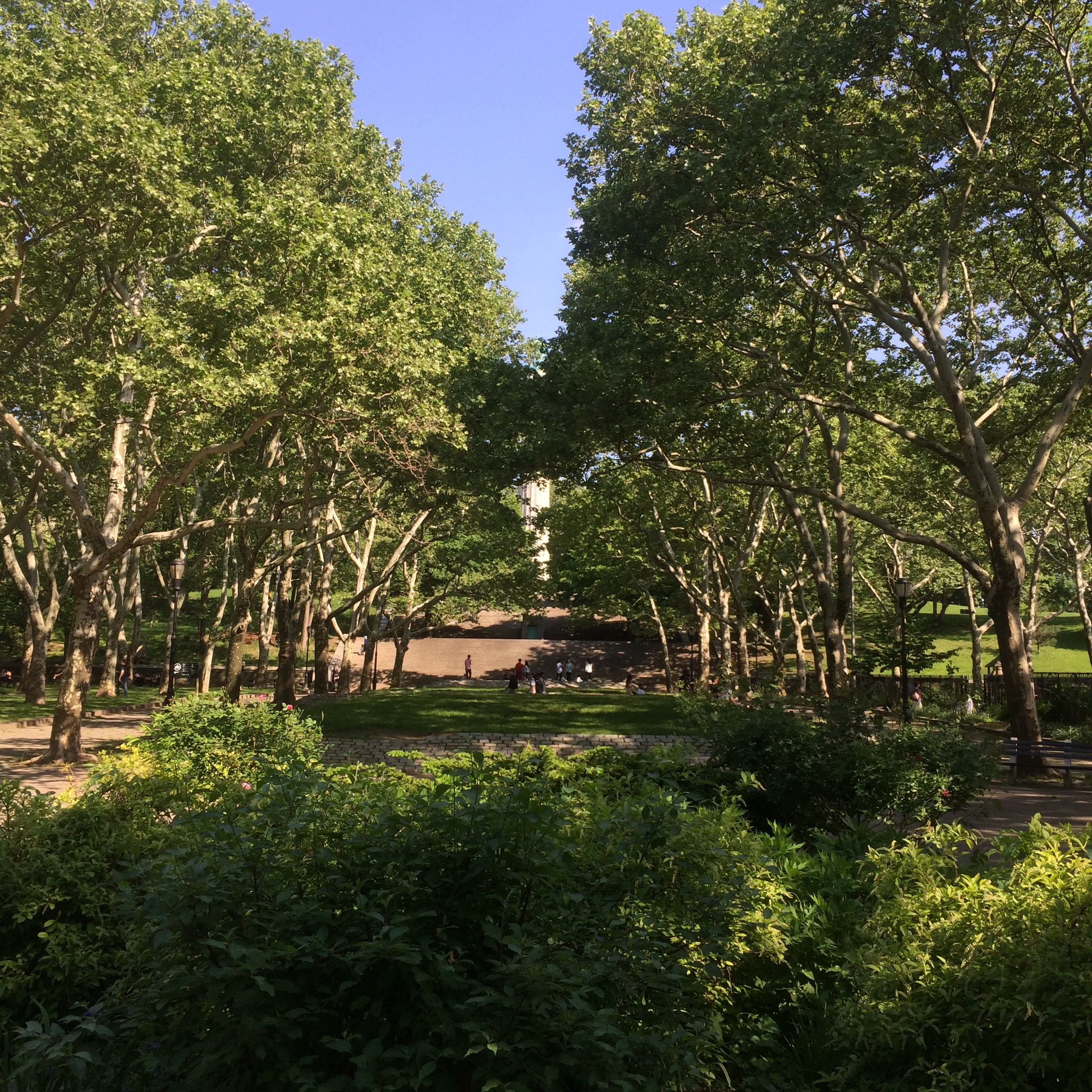 The Northern corner of the Park with the Prison Martyr's Monument peaking through the trees