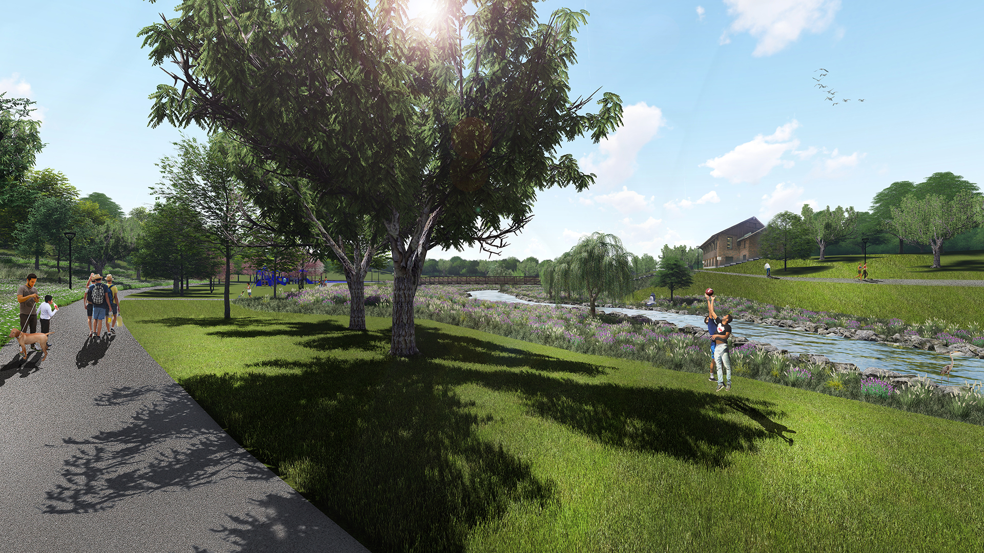 Tomrrow: Looking east in Pulaski Park (future vision)