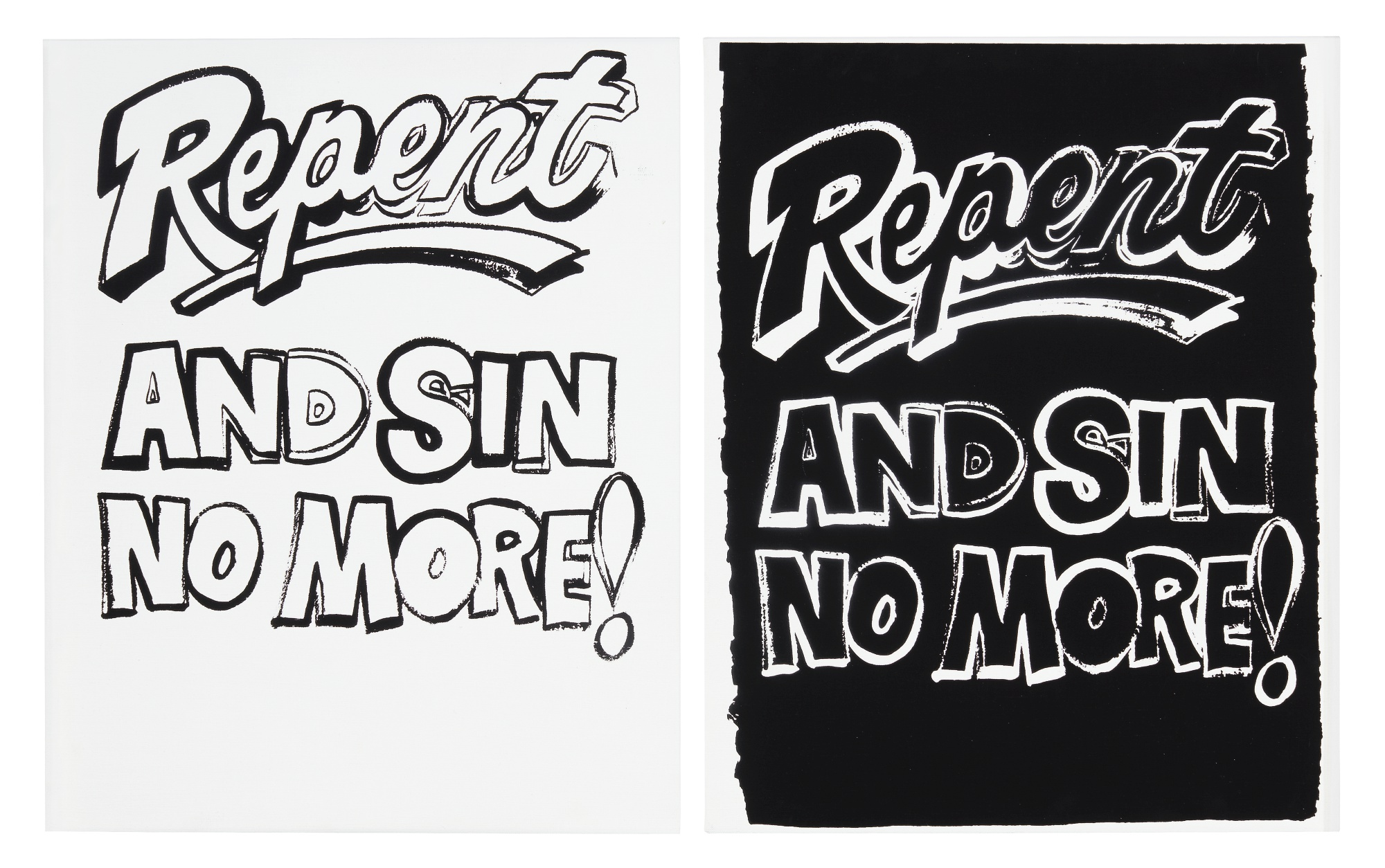 Andy Warhol - I. Repent and Sin No More (Positive) and II. Repent and Sin No More (Negative)Acrylic and silkscreen ink on canvasEach: 20 by 16 in. 50.8 by 40.6 cm.Executed in 1985-1986.On View: May 2 - August 23, 2019