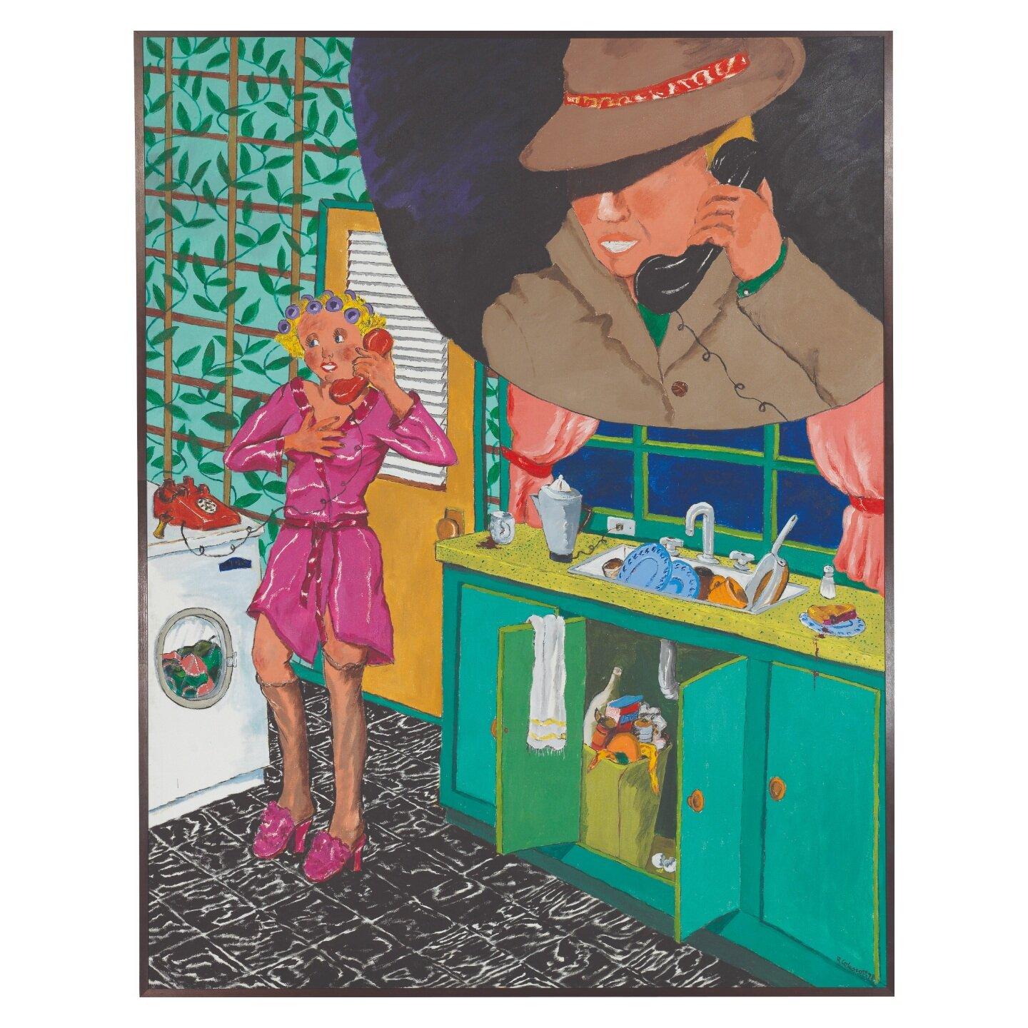 Robert Colescott - The Phone CallOil on canvas84 x 65 3/8 in. Painted in 1978.On view: September 27 - November 3, 2019