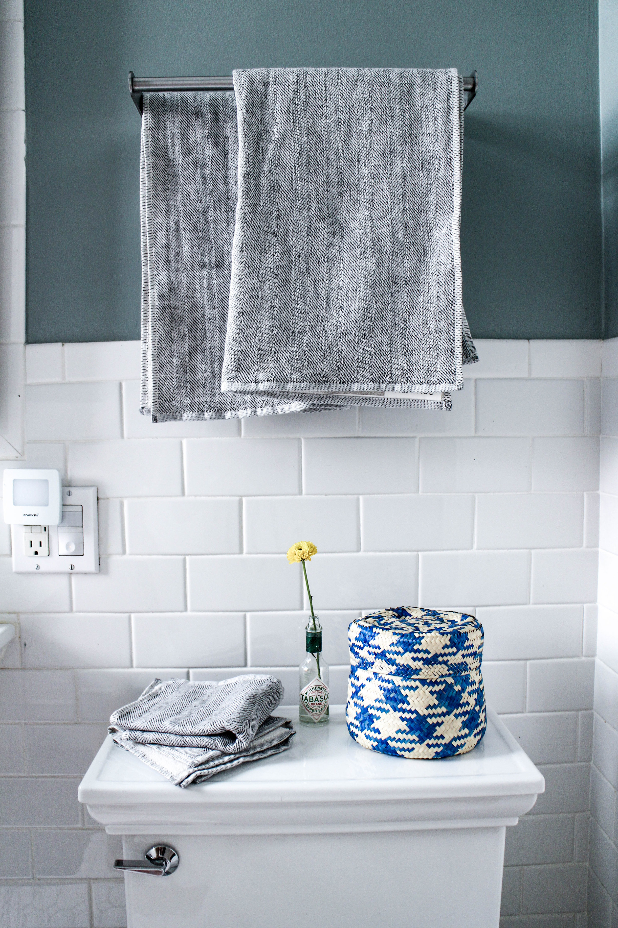 Organic towels from  Couyuchi , basket from  GlobeIn .