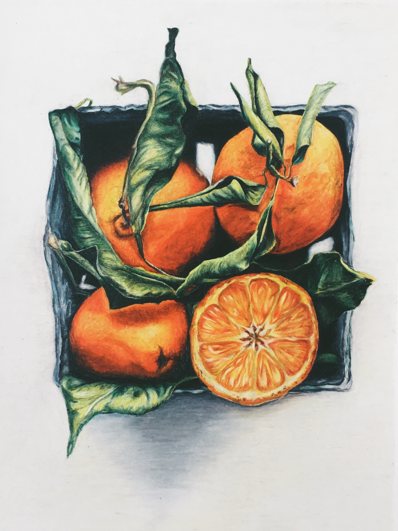 """Las Primeras Naranjas - Detailed and vibrant, this still life is full of richness and depth. As the first piece created in the Camino Oscuro collection, it is the only one with a white background. I had not originally intended to include this piece as part of the collection, as it lacks the characteristic dark background; however, upon reflection, I realized that the white background is precisely why it must be included. This piece represents the starting point of the journey I experienced while creating this collection, a collection that would not exist without """"Las Primeras Naranjas."""""""