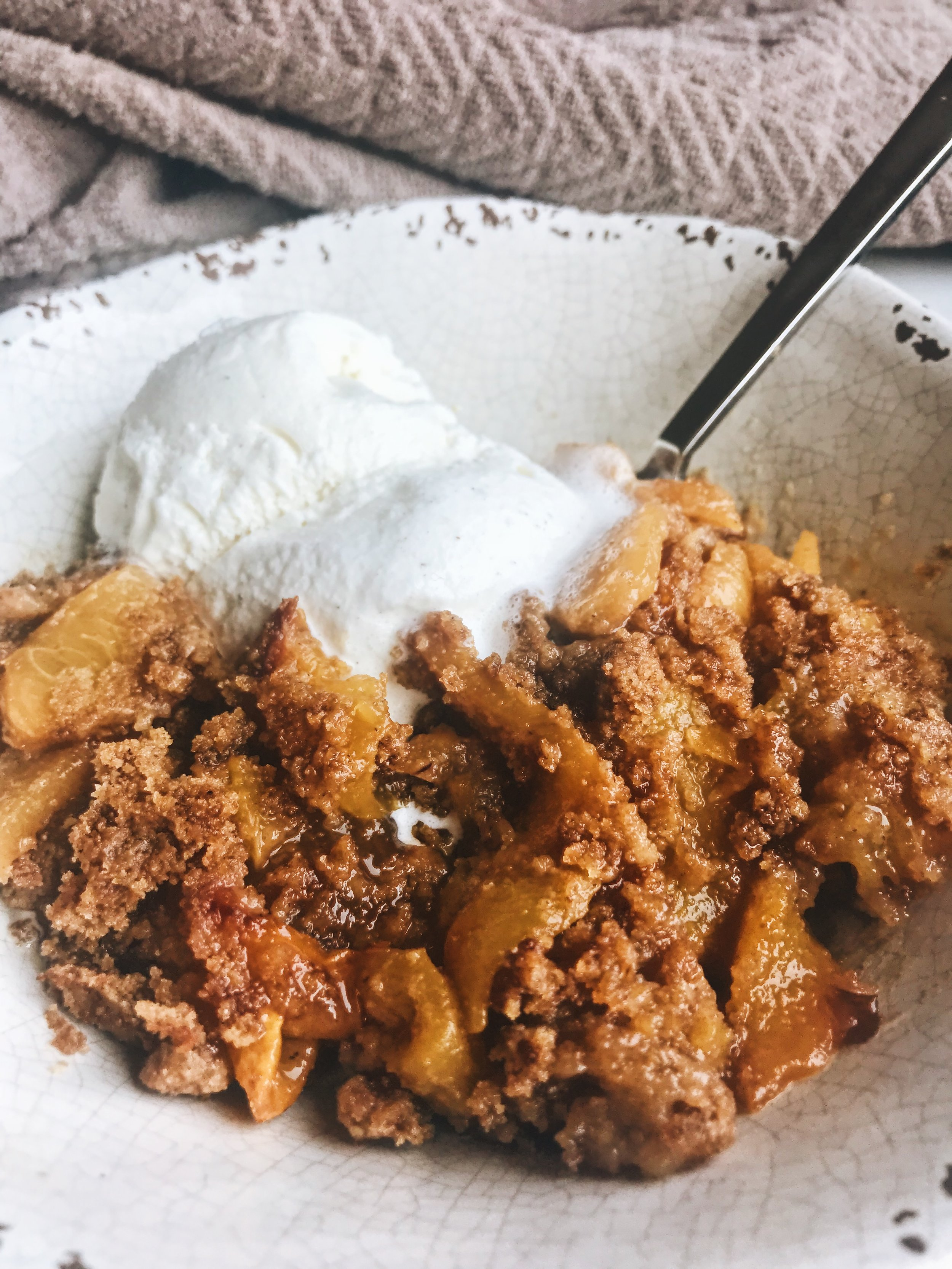 Easy Peach Cobbler (Refined Sugar Free and made with Sprouted Flour)