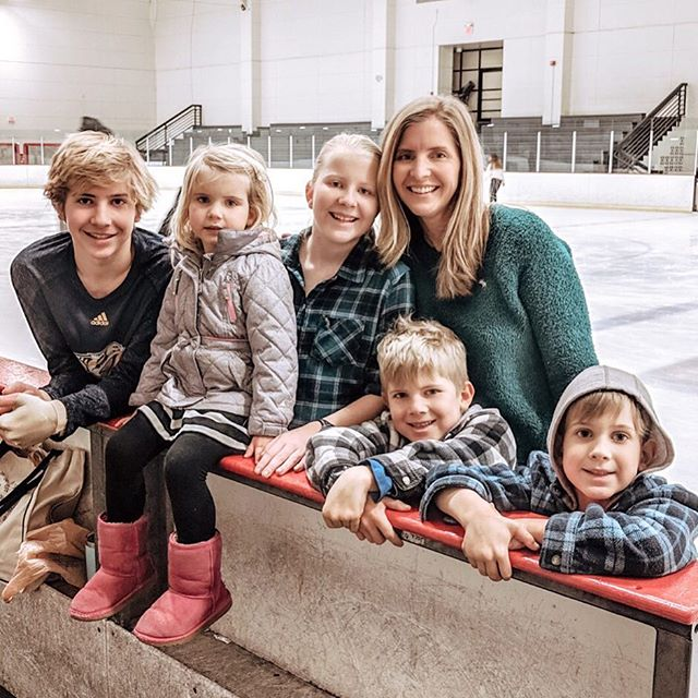 Not only did I manage to get us all out of the house for a fun morning of ice skating, but I even managed to get a picture of me with all the kids. This is proof that miracles DO happen. * Are you good about getting pictures with your kids? I've really got to get better about it. It's sad to look back and not have many pictures together with them.