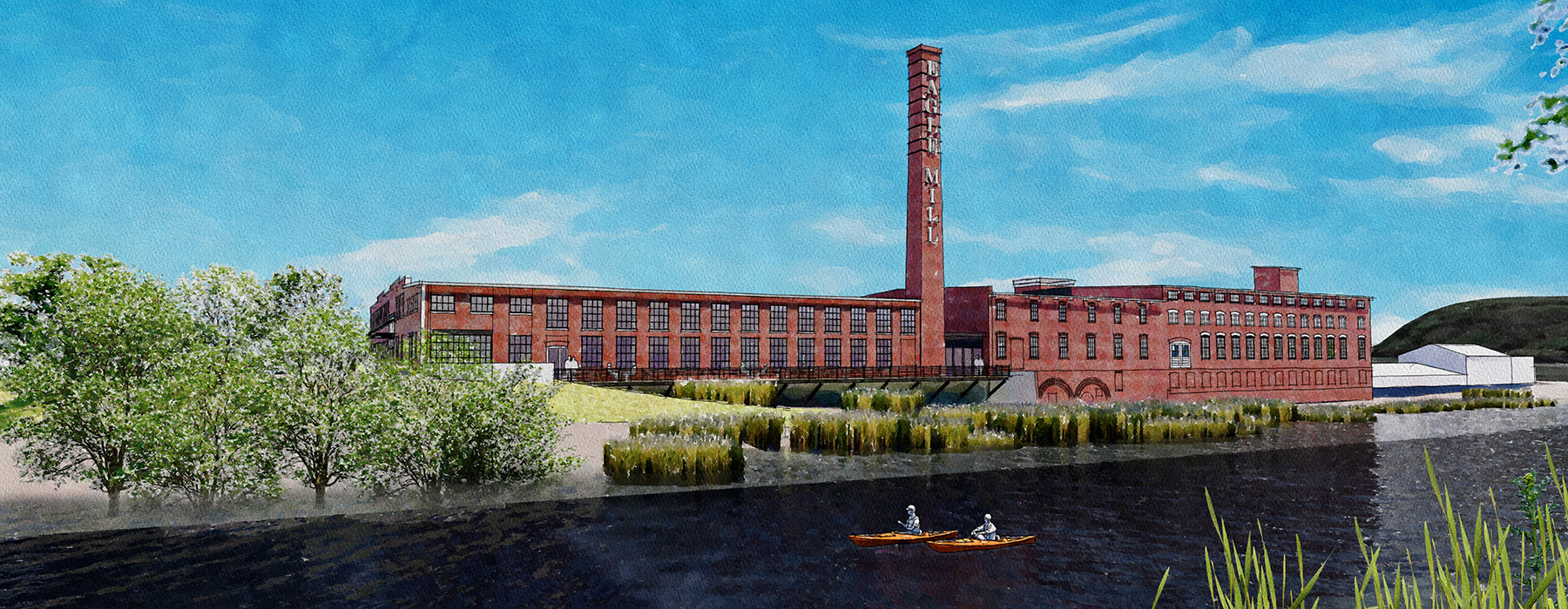 Housatonic River, and rear of Mill Buildings