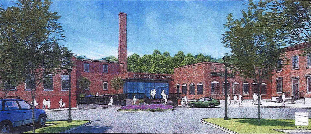 The entrance to the Eagle Mill complex, showing the Eagle Marketplace, as envisioned by Jeffrey Cohen's Eagle Mill Redevelopment LLC.