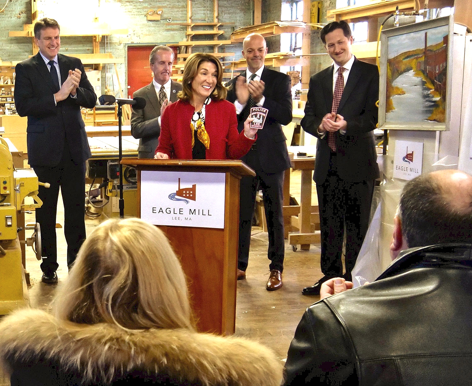 """Lt. Gov. Karyn Polito announces a $4.9 million MassWorks Infrastructure Program grant early Thursday at the Eagle Mill in Lee. Behind her, from left, are state Housing and Economic Development Secretary Jay Ash, state Rep. William """"Smitty"""" Pignatelli, D-Lenox, state Sen. Adam Hinds, D-Pittsfield, and Lee-Lenox Chief Administrative Officer Chris Ketchen."""