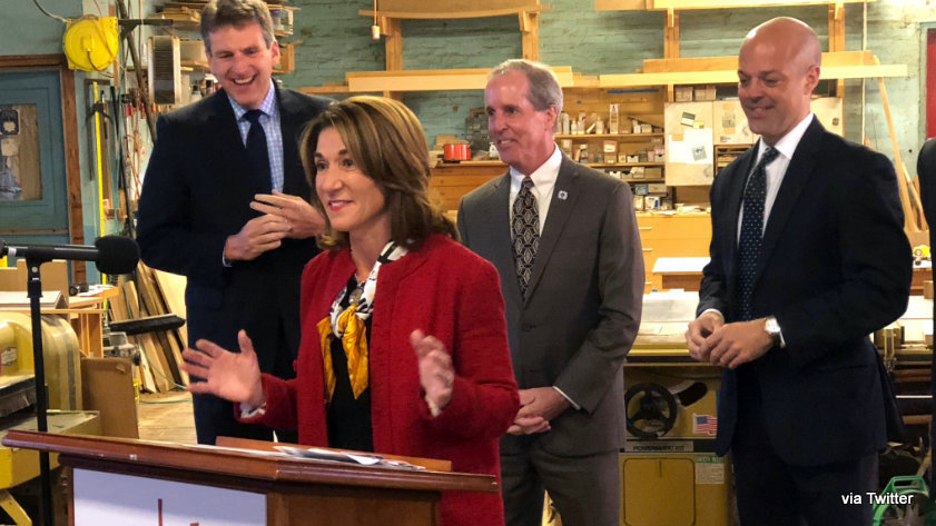 Lt. Gov. Karyn Polito announces a $4.9 million MassWorks grant that will allow the Eagle Mills redevelopment to move forward.