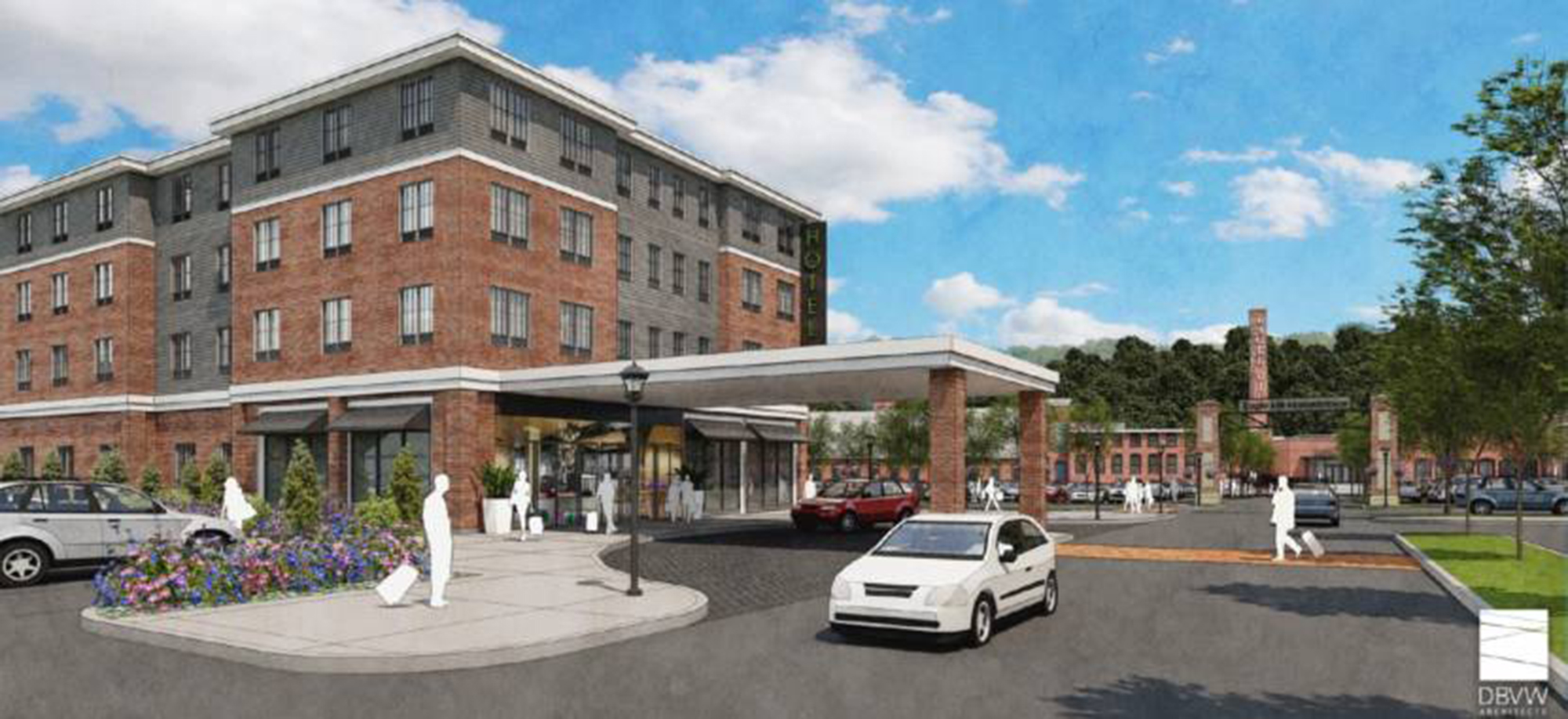 A conceptual rendering offers a view of the proposed hotel on the south side of West Center Street in Lee. The illustration does not represent a final design.  IMAGE PROVIDED BY EAGLE MILL REDEVELOPMENT LLC
