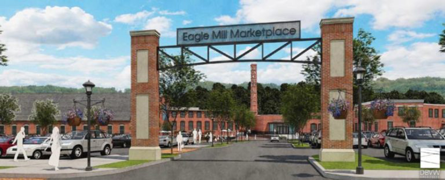 The entrance to the Eagle Mill complex in Lee, Mass., showing the Eagle Marketplace, as envisioned by Jeffrey Cohen's Eagle Mill Redevelopment LLC.