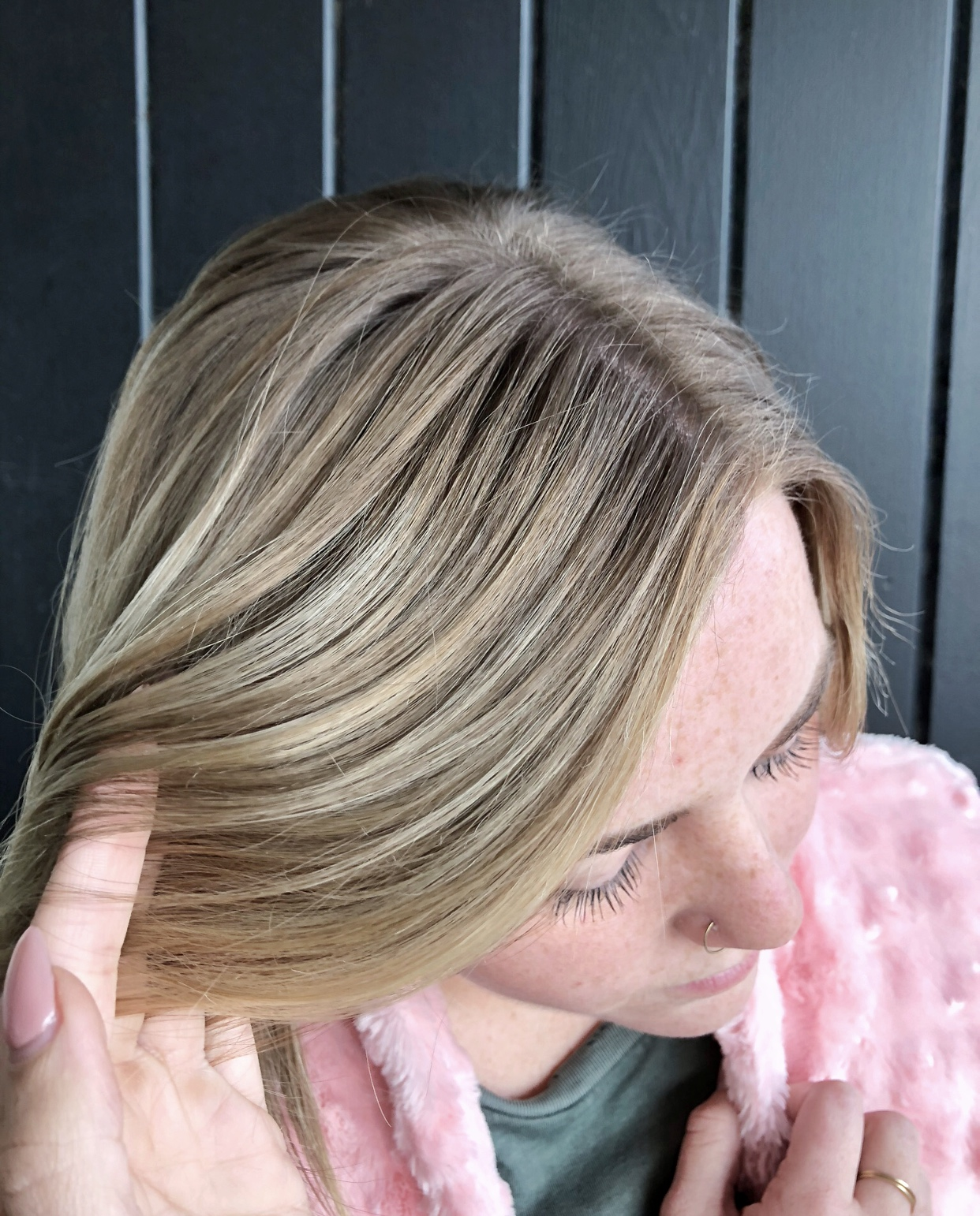 Shadow Root - As you can see here I took a section at her base and used a darker color allowing her longer time between visits and giving a better grow out process and more of a balayage look than a regular highlight.