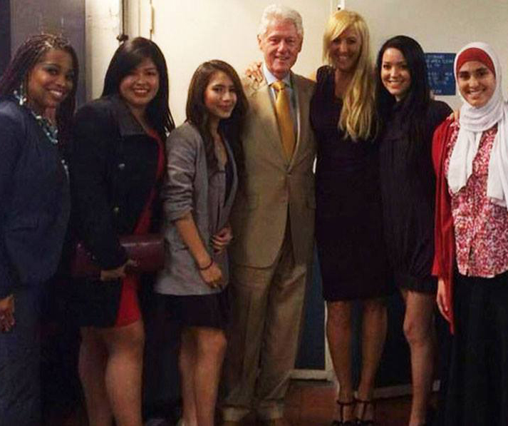 Nancy Gale and AMBITION student representatives meet with President Bill Clinton.