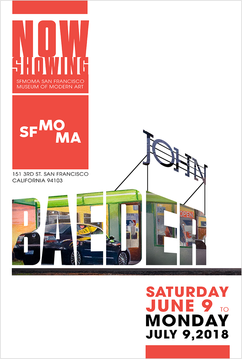 John Baeder Exhibition - Poster size: 27 x 40 (inch)This project supports advertising the exhibition of a well-known artist, John Baeder. The poster is incorporating the existing museum branding and design language inspired by John Baeder's style.