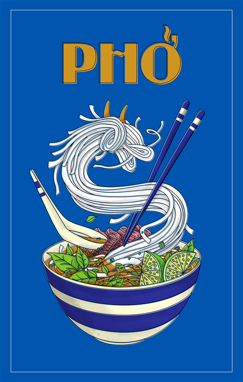PHO - Poster size: 11 x 17 (inch)This is the illustrated poster of a bowl of PHO. The poster was made to honor PHO, a famous traditional noodle dishes of Vietnam.
