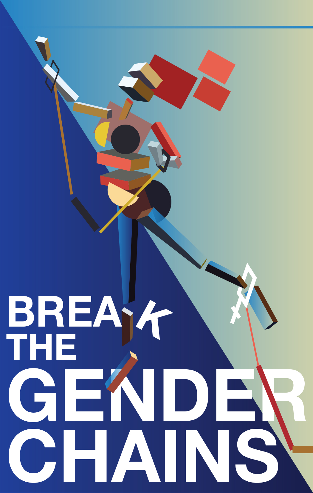 Break the Gender Chains - Poster size: 11 x 17 (inch)This propaganda poster is calling people to Break the Chains of dependency for girls and women and put gender equality right at the heart. The art style is inspired from Kazimir Malevich.