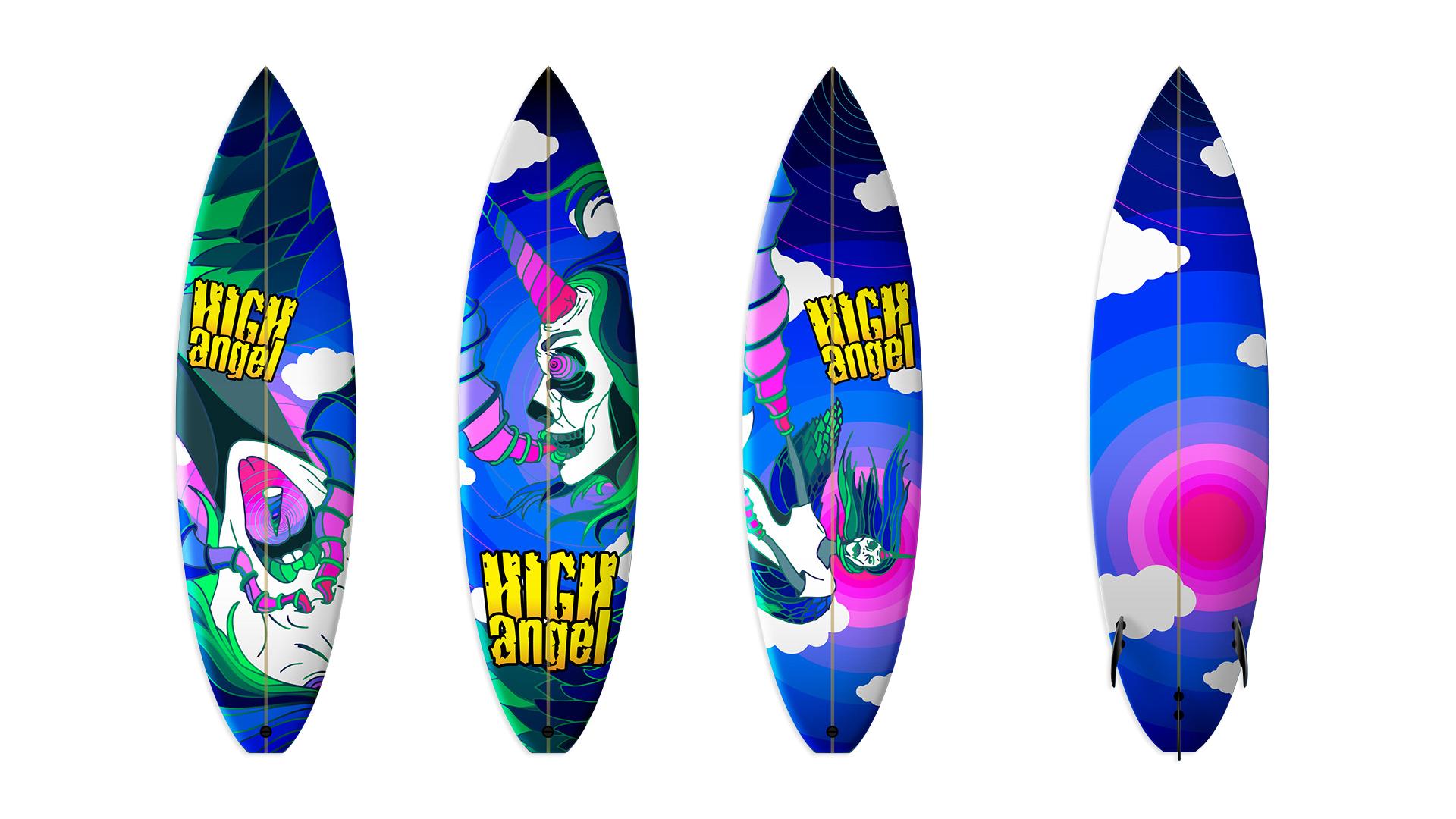 Final Illustration with mock-up on surfboard.