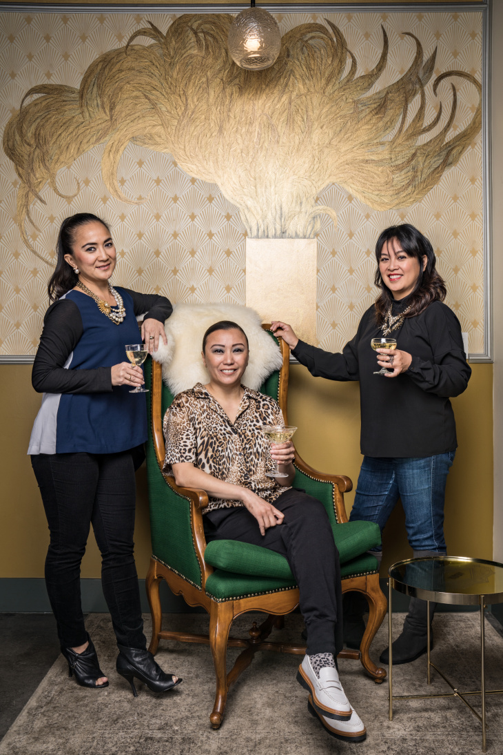 Christine Sumiller, Patricia Perez and Roselma Samala (left to right), founders and owners of HiFi bar Genever. (Jon Endow for LAist)