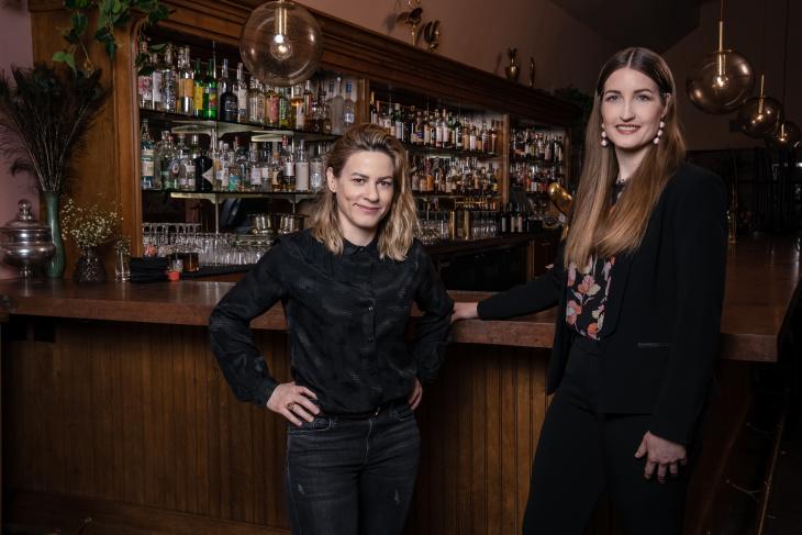 Rachel Thomas (left) and Laura Lindsay (right) of DTLA's Bar Franca. (Jon Endow for LAist)