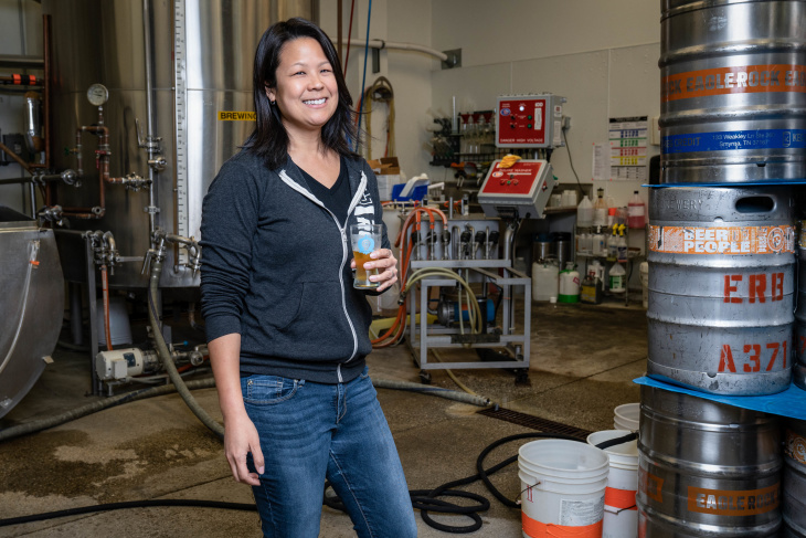 Ting Su, co-owner of Eagle Rock Brewery and Eagle Rock Public House. (Jon Endow for LAist)