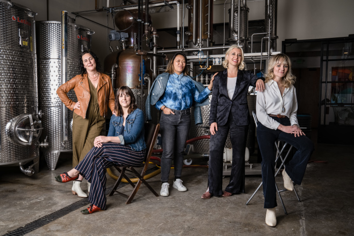 Amy Atwood, Mary Bartlett, Freya Estreller, Natasha Case and Morgan McLachlan (left to right) of Future Gin. (Jon Endow for LAist)