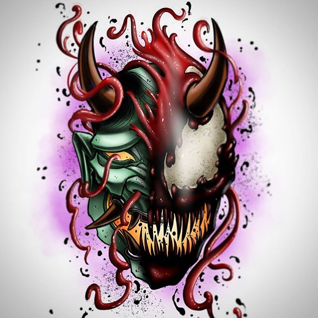 #carnage #hannya #carnnya ? Either way let's tattoo it.  #odditytattoo #hivecaps #redbeardactual #hivecups #tattoo #tattoos #art #digitalart #ipadpro #ipadprotattooteam #illustration #partyonwayne #partyongarth #sarasotafl #floridatattoos #941 #srq #marvel #marvelfanart #marveltattoo #carnagetattoo #spidey #symbiote #venom.