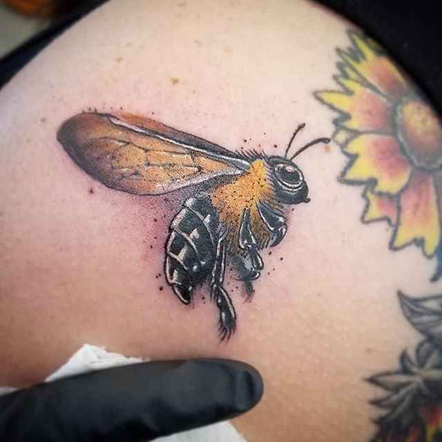 Little bee tattoo  #odditytattoo #hivecaps #redbeardactual #hivecups #bee #beetattoo