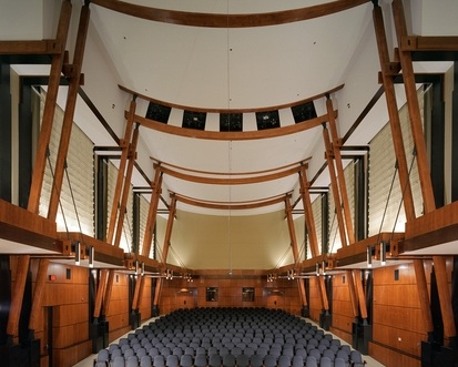 Photo: The renowned Watson Chamber Music Hall at the University of North Carolina School of the Arts in Winston-Salem, NC. Home to the American Harp Society, Inc. 23rd National Competition.