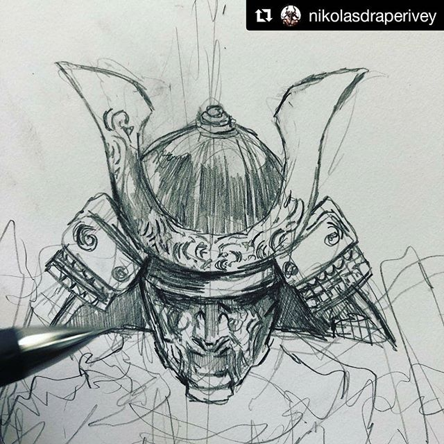 🎎🌌⚫ #VOID #BOOK5 #FIVERINGS ・・・ (WIP)  #nikolasdraperivey #slyte #commissions #wip #samurai #kabuto #somen #pencil