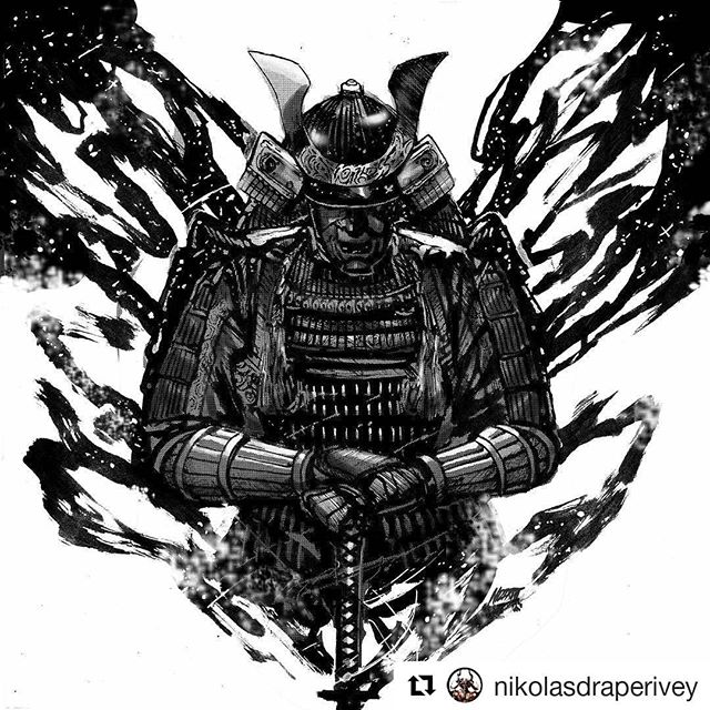 🖌🌌👀 ・・・ VOID COVER. for @slyte_ !  I had a lot of fun with this one. I don't get to draw samurai themed pieces that often, (which is a real shame) so this was a breath of fresh air. #nikolasdraperivey #artistoninstagram #slyte #void #bookoffiverings #samurai #tones #commissions